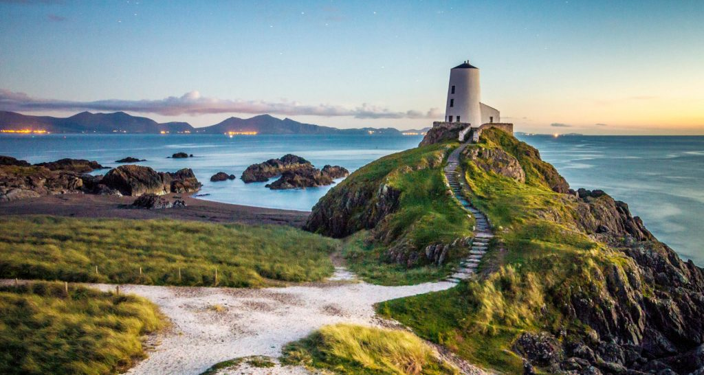 Discover North Wales and the famous Llanddywn lighthouse at dusk