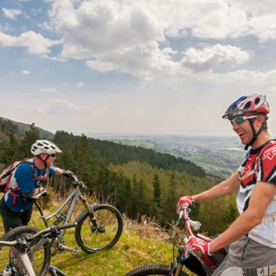 Mountain bikers enjoy a guided mountain bike holiday in Wales